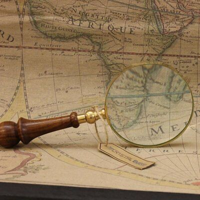"""Antique Vintage Magnifying Glass 10cm 4"""" Brass Wooden Handle Map Nautical Gift"""