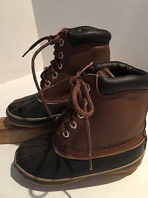 Polar Edge Thermolite Duck Hunting Snow Hiking Boots Sz13 Boys Leather Rubber