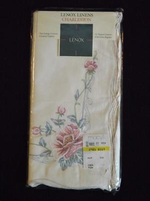 NIP Set 4 Lenox Charleston Dinner Napkins Floral Embroidered Ecru