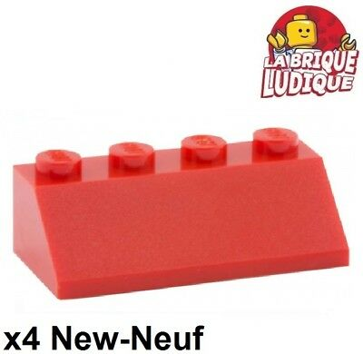 Roof Brick 2x4 Slope 45° NEUF NEW rouge red 4 x LEGO 3037 Brique Pente Toit