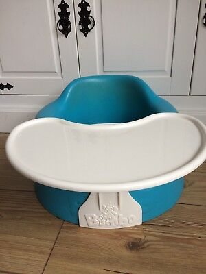 Blue / Aqua Baby Bumbo Seat / chair With White Tray