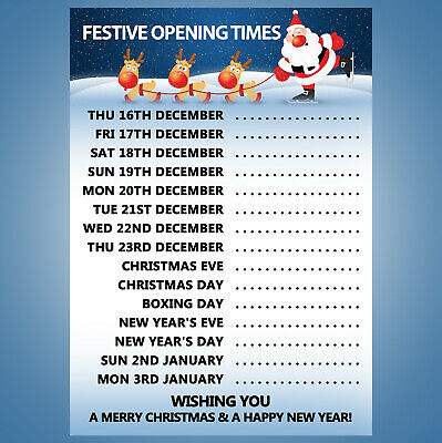 Christmas Opening Hours Poster - A4, A3, A2 Xmas 2018 Version