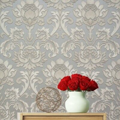Sorrentino Silver Damask Wallpaper Heavy Textured Vinyl by Belgravia GB9812