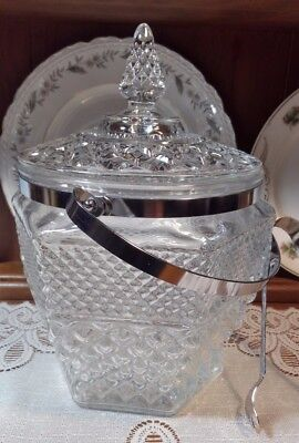 Anchor Hocking Crystal Clear Wexford Ice Bucket and Lid w Handle n Tongs.