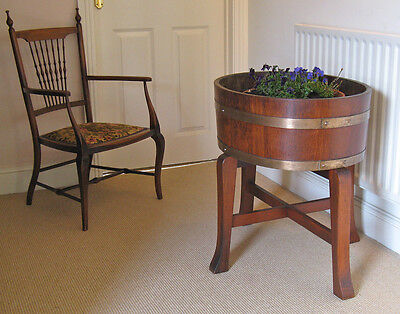 Georgian-Style Coopered Brass-Mounted Oak Wine Cooler Planter on Mahogany Stand