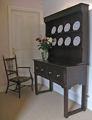 Victorian 18thC Style Elm Peg Jointed Dresser Base with Drawers & Oak Plate Rack