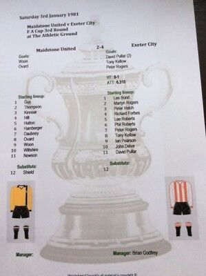 1980-81 Maidstone United v Exeter City FA Cup 3rd Round matchsheet