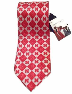 College-NCAA Sports Mem, Cards & Fan Shop White Diamond NWT NCAA College Nebraska Cornhuskers Men's Silk Neck Tie Red