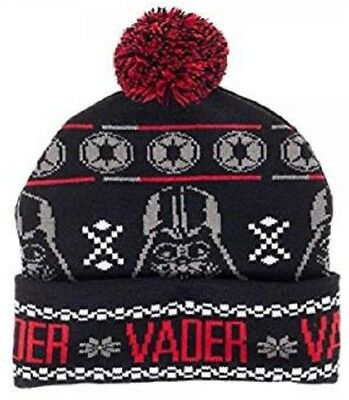Darth Vader Cuff Pom Beanie --Fairisle Winter Hat-Star Wars-Headwear by Bioworld