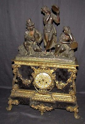 Quality Large French Mantle Clock With Bronze Figures
