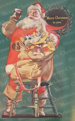 Santa Claus Coca Cola Merry Christmas Tin Embossed Happy Holiday '98 Collectible