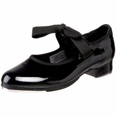 BLOCH NEW S0350G Annie Tyette Black Patent Introductory Tap Dance Shoes TOD 8.5