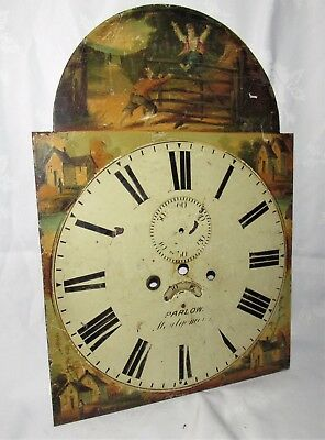 Nice Hand Painted Mid 19th Century Grandfather Longcase Arched Clock Dial