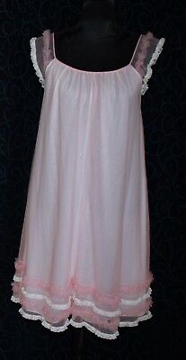 VINTAGE nightie negligee KAYSER LINGERIE pale pink white nylon frills lace s32""