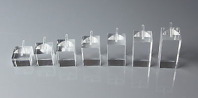 7 x SQUARE SHAPED CLEAR ACRYLIC RING JEWELLERY DISPLAY STANDS FREE P&P TO UK