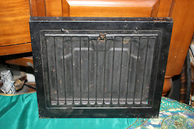 Antique Victorian Register Heat Grate Simple Line Design-Metal Grate Vent-Black