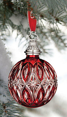 Waterford Red Cased Christmas Ball Ornament For 2017, New, Signed