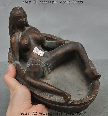 """8"""" Old Chinese bronze Copper Beauty Belle Art Statue Calligraphy Tool Pen wash"""