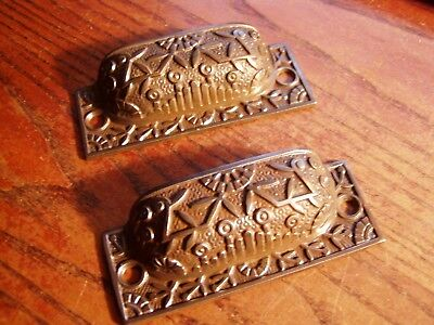"PAIR old Bin Drawer Pull cup door handle 4"" rustic windsor vintage"