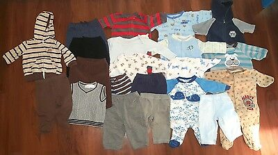 Baby Boys 0-3 Month Clothing Lot 21 Pieces Fall Winter