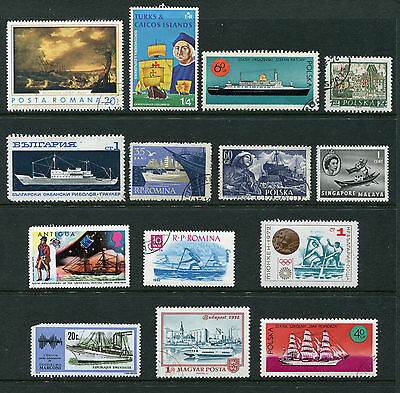 World Stamps.  14 stamps depicting Ships and Boats.