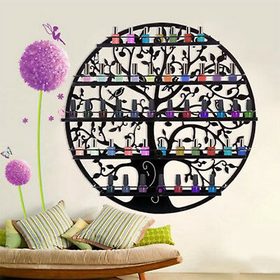 5 Tier Tree Art Nail Polish Display Holder Rack Metal Wall Mounted Perfume Shelf