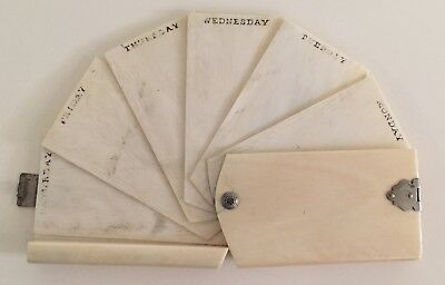 Antique 19th Century Authentic Chinese Ivory Notebook/Diary Monday-Saturday RARE