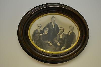 """Antique Victorian 11x13"""" Deep Well Oval Walnut Picture Frame w Wood Back c1800"""