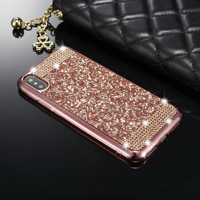 For iPhone XS 8 XR Luxury Bling Glitter Diamond Soft TPU Skin Crystal Case Cover