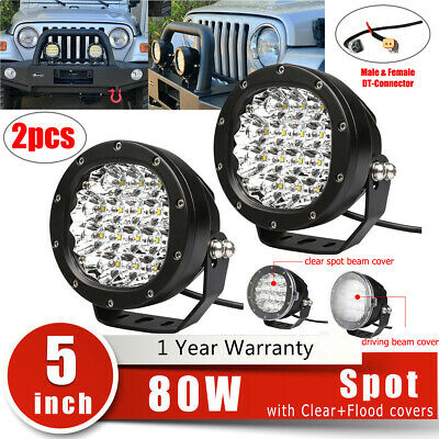2X 5inch 80W LED Work Light Spot Round Driving Fog Lamp For Jeep 4x4 ATV +Covers