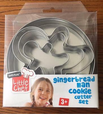 NEW Wiltshire Gingerbread Man Cookie Cutter Set 3 Little Chef Tin Bake Christmas