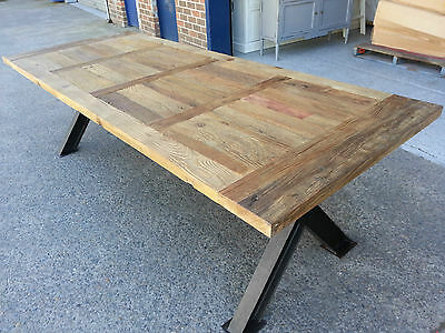 New French Industrial Recycled Vintage Rustic Timber Dining Table - 2M