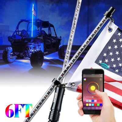 6ft RGB Flag Pole LED Whip Light w/ Voice & Music Bluetooth Controlled UTV ATV