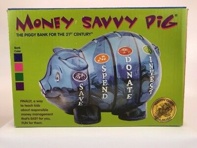 Money Savvy Pig Bank ~ Save, Spend, Donate, Invest Sections ~ Blue NEW
