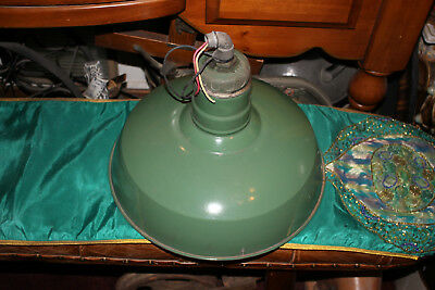 Antique Wheeler Boston Industrial Porcelain Barn Gas Station Light Fixture-Green