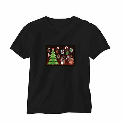 Sound Activated LED T-Shirt Music Disco Christmas Tree Santa Flashing Party Disc