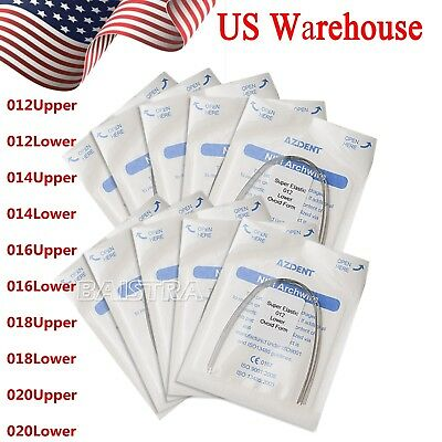 10 Sizes Dental Orthodontic Supper Elastic Round NITI Arch Wires Ovoid Form USA