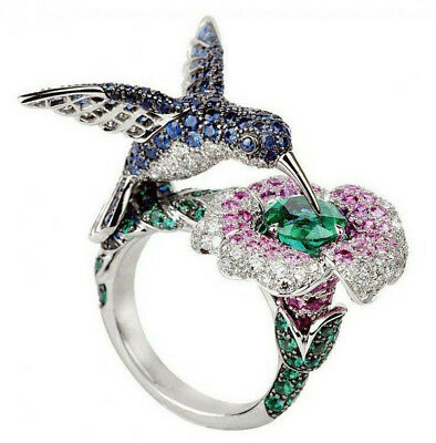 6.5CT Gemstone Animal Humming Bird 925 Silver Ring Wedding Cocktail Size 6-10