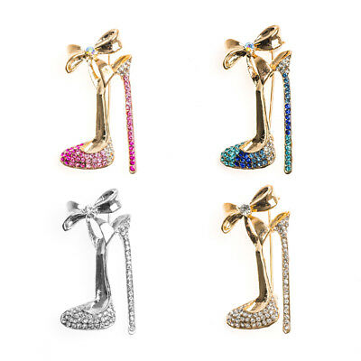 Wedding Bridal Crystal Brooch Pin Bowtie High Heel Shoes Jewelry Party Gift