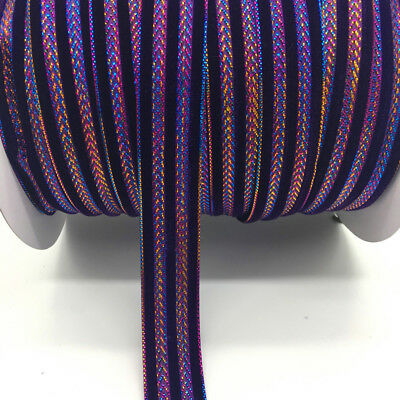 "5yds 1""(25mm)Glitter Rimmed Velvet Ribbon DIY Lace Sewing Trim Crafts Purple"