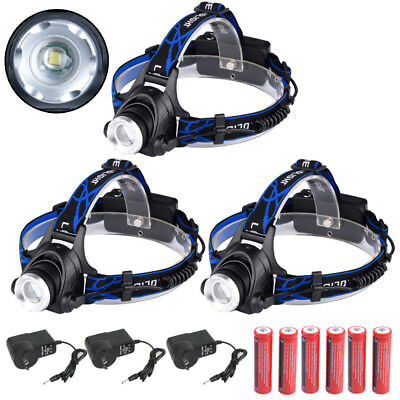3 Packs New 15000LM CREE XML T6 LED Rechargeable HeadLamp Torch HeadLight 18650