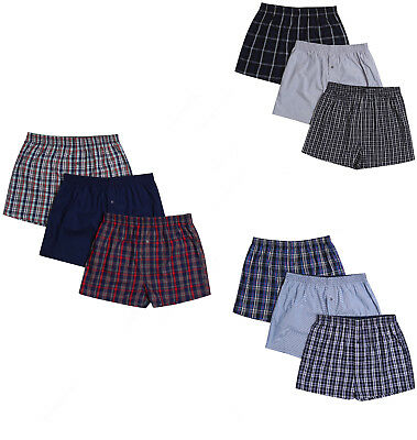 New Mens 100% Cotton BHS Woven Boxer Shorts Assorted Colours Sizes S-XXL