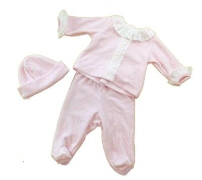 Mintini Baby Girls Romany Spanish Style Lace Trim Velour 3 Piece Pink Outfit