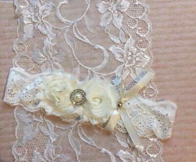 Bridal Satin Wedding Garter ivory double shabby rhinestones and pearl