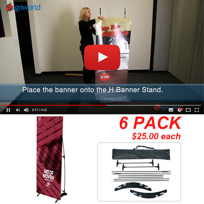 "Portable H banner stand Trade Show Booth Exhibit Display 24""x63"" 6 PCS"