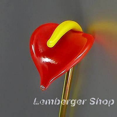 Glass figurine flower Anthurium made of colored glass. Lenght 15 cm / 6 inch!