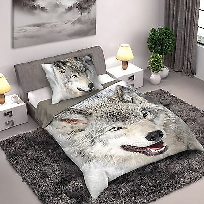 Wolf Single Duvet Cover Set Cotton Animal Photo Print Bedding Wild Collection