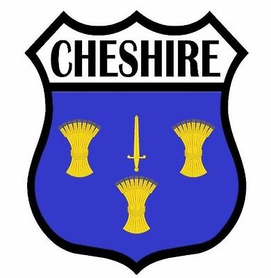 1 x CHESHIRE County Shield Flag Decal Car Motorbike Laptop Window Sticker