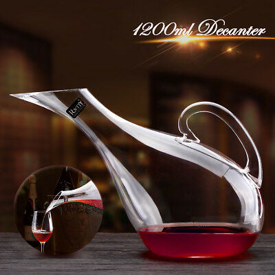 1200ml Swan Shape Lead-free Crystal Glass Wine Decanter Pourer Bottle Container