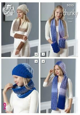 King Cole 5055 Ladies Scarves and Hat Knitting Pattern